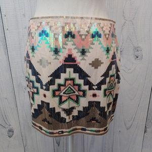 Express Mini Skirt Sequins Southwest SantaFe Aztec